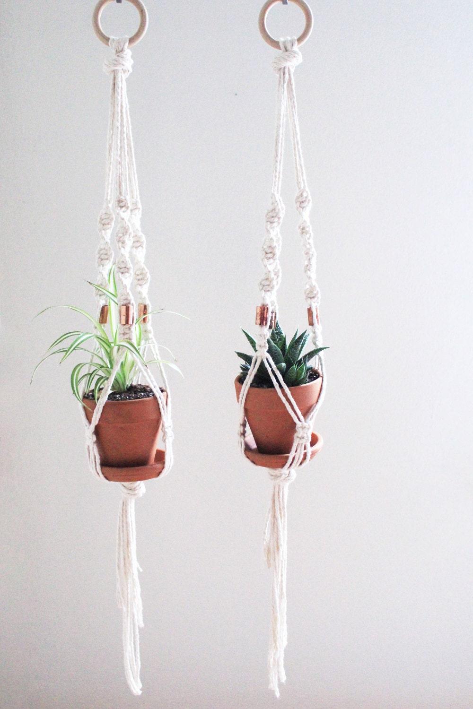 diy macrame plant hanger kit natural white cotton