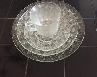 Glass serve ware, basket weave pattern, vintage