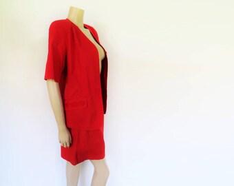 Retro Suit, Red, 1990s, Shorts & Jacket, Wedding Guest, Cotton, Two Piece, Shorts, Pretty Woman, Festival Suit, Ladies Suit, Clothing