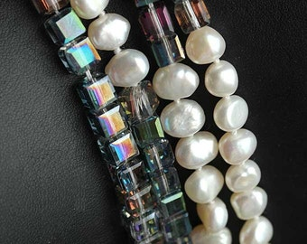 """Genuien cultured baroque white freshwater pearl long necklace 110cm/44"""""""