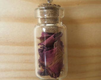 Glass vial dried flower necklace