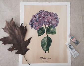 Hydrangea Flower Illustration. Libra Zodiac Sign. Original Watercolor Painting. Original Illustration. Flower Painting. Original Art.