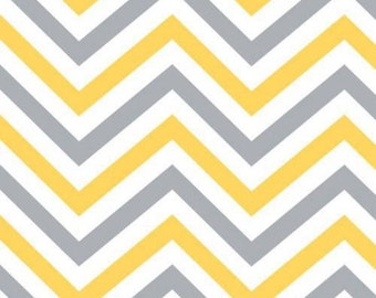 By The HALF YARD - Yellow Matters by Emma & Mila, Pattern #4140412-1, Chevron, Yellow, White and Gray Chevron Stripes