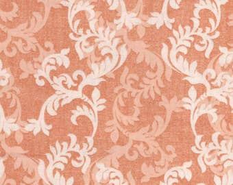 By The HALF YARD - Damask Floral Bloom by Two Daughters, Organic Fabric, White and Light Orange Scrolling vines on Tonal Textured Orange