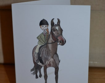 Horse and Rider Greetings Card, Horses and Ponies, Horse and Pony Lover Greetings Card, Animal Lover Card, Any Occasion Card,
