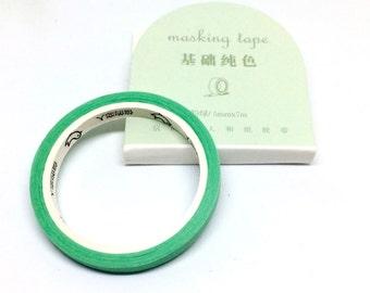 Mint Slim Washi Tape - Masking Tape Green Thin