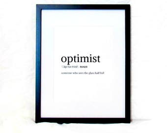 Optimist Wall Art Dictionary Definition of Optimist Digital Print Optimism Instant Download