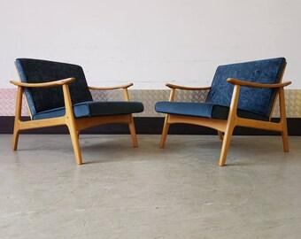 1 LEFT Mid Century Danish Armchair Upholstered Vintage Restored