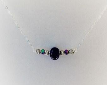 Cobalt blue ceramic bead necklace