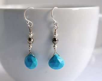 Gemstone earrings with turquoise and pyrite
