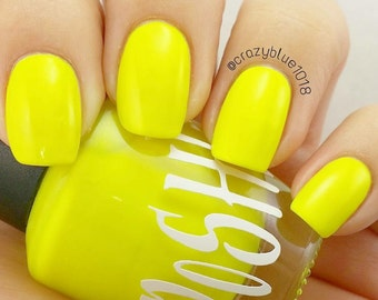 "Unique ""Lightning Yellow"" Neon Yellow (Fluorescent) Nail Polish Full Size 15ml Bottle"