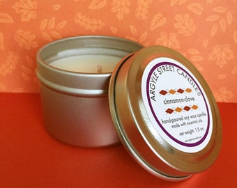Soy Candle Essential Oil Cinnamon Clove Tin Container Candle Handmade