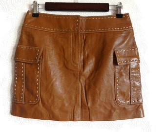 Leather mini skirt | Etsy