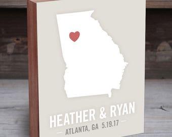 Georgia Wedding Gift - Georgia Map - Georgia Wall Art - Georgia Wood Sign - Georgia Art - Georgia Gifts - Atlanta Wedding Gift
