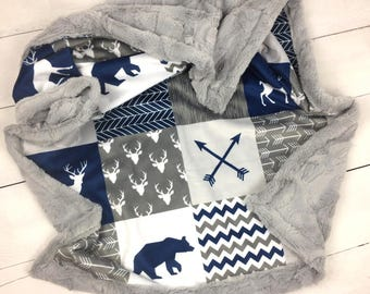 Baby minky blanket, deer bear blanket, arrows mountains blanket, gray navy baby blanket, boy woodland blanket, baby shower gift, birth
