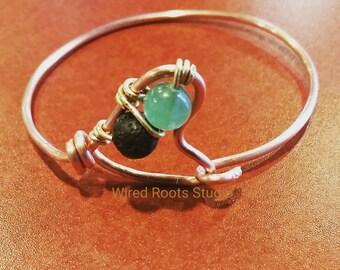 Green aventurine lava rock bangle, copper bangle, gemstone and lava rock diffuser bracelet, boho bangle, essential oil diffuser bangle, gift