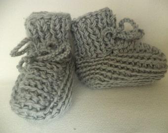 Baby booties socks knitted Merino Wool