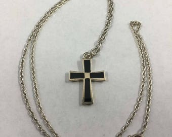 Vintage Sterling Silver Inlay Black Onyx Cross Necklace