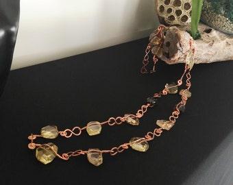 Copper & Citrine  Long Necklace
