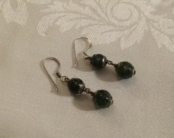Green Agate Double Drop Earrings