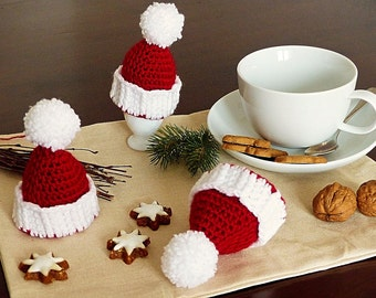 "ebook: Egg Cosy ""Christmas Hat"" Crochet Pattern"