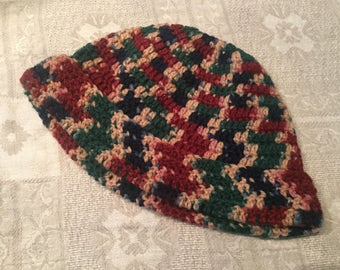 Hand-crocheted Mens knit hat and scarf set