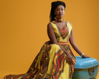 Sunshyne Dashiki Print Dress/ African Print Dress