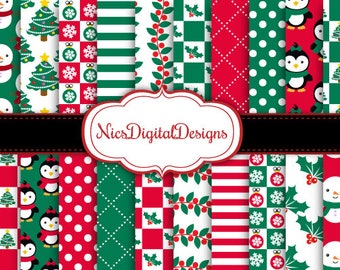 Buy 2 Get 1 Free-20 Digital Papers. Snowmen and Penguins at Christmas (2C no 10) for Personal Use and Small Commercial Use Scrapbooking