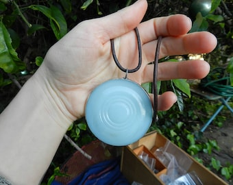 Vintage Mason Jar Lid Necklace Pendant Milk Glass Repurposed Leather Natural Recycled Reclaimed Eco Friendly