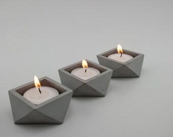 Grey Concrete Tea Light Candle Holder / Concrete Pot (Set of 3)