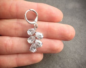 Leah | Crystal drop earrings, elegant bridal earrings, silver drop earrings, bridesmaid earrings, sparkly bridal earrings, pear cut earrings