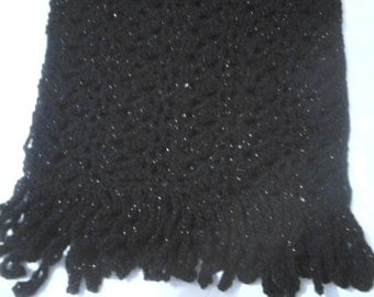 Evening Stole, Shawl, Wrap:- Teal and Black Sparkle Shimmer Yarn