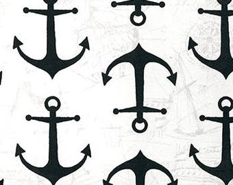 Outdoor Anchors Cavern, Polyester, Nautical and Coastal, Fabric by the Yard