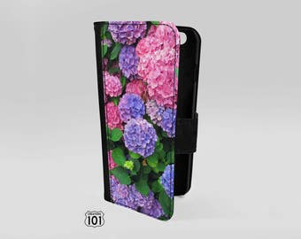 Engraved iPhone 6 Wallet Case for Women, Womens Wallet iPhone 6 Case, Hydrangea Phone Case, Flower Phone Case, iPhone Accessory, IPC1028