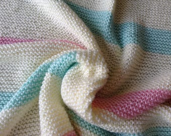 Hand Knit Baby Blanket - Cream, Soft Pink and Soft Green