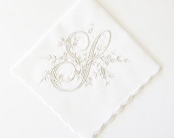 Royal Monogram Design Embroidered Handkerchiefs - Wedding Keepsake for Special Occasions