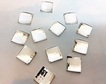 Large clear square rhinestones, faceted clear stones, clear rectangle rhinestones, big clear rhinestones, clear acrylic square rhinestones