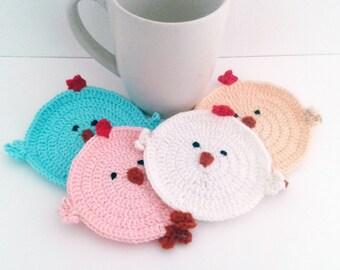Crochet Chicken Coasters set , 4 crochet coasters in crochet bag, crochetgift, housewares crochet coasters
