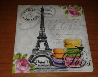 4 Napkins decoupage paper Paris Tour Eiffel