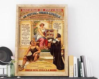 Los Seguros Obreros Privados 1900 Vintage Spain Advertising Poster Art Print