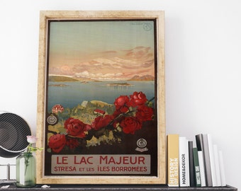 Italy Lake Maggiore by Richter and Co Vintage Italy Travel Poster Art Print
