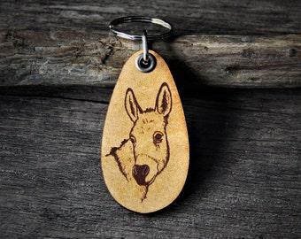 Donkey - genuine leather keychain