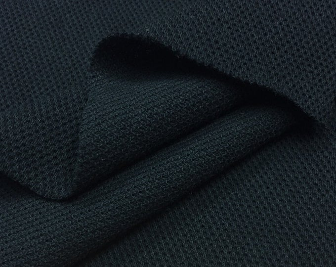 100% Cotton Pique Knit Fabric (Wholesale Price Available By the Bolt) USA Made Premium Quality - 7275 Black - 1 Yard