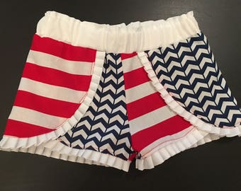 Ruffle Shorts- Coachella Shorts- Baby, Toddler and Girls- Patriotic Shorts- Red White and Blue- 4th of July Shorts