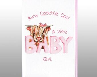 New Baby Card Coochie Coo Girl WWBA35