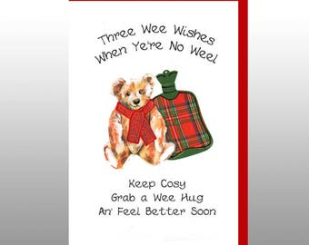 Scottish Get Well Card Hot Water Bottle WWGW03