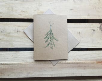 Hand-crafted Herbal Hanging Eucalyptus Greeting Card / Blank Stationery