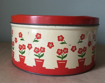 Red Floral Tin Canister Vintage Kitchen Storage