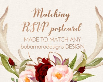 """ADD RSVP POSTCARD, Add on Matching Rsvp postcard (front and back) in 6x4"""" size, matching any invitation design"""