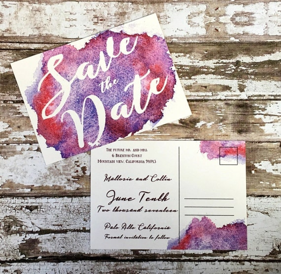 Save the date postcards, set of 10 printed handmade wedding cards, purple watercolor save the dates, red wedding invitations, simple invites